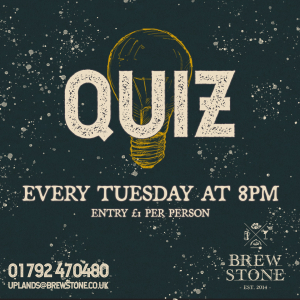 A graphic with information about our quiz night