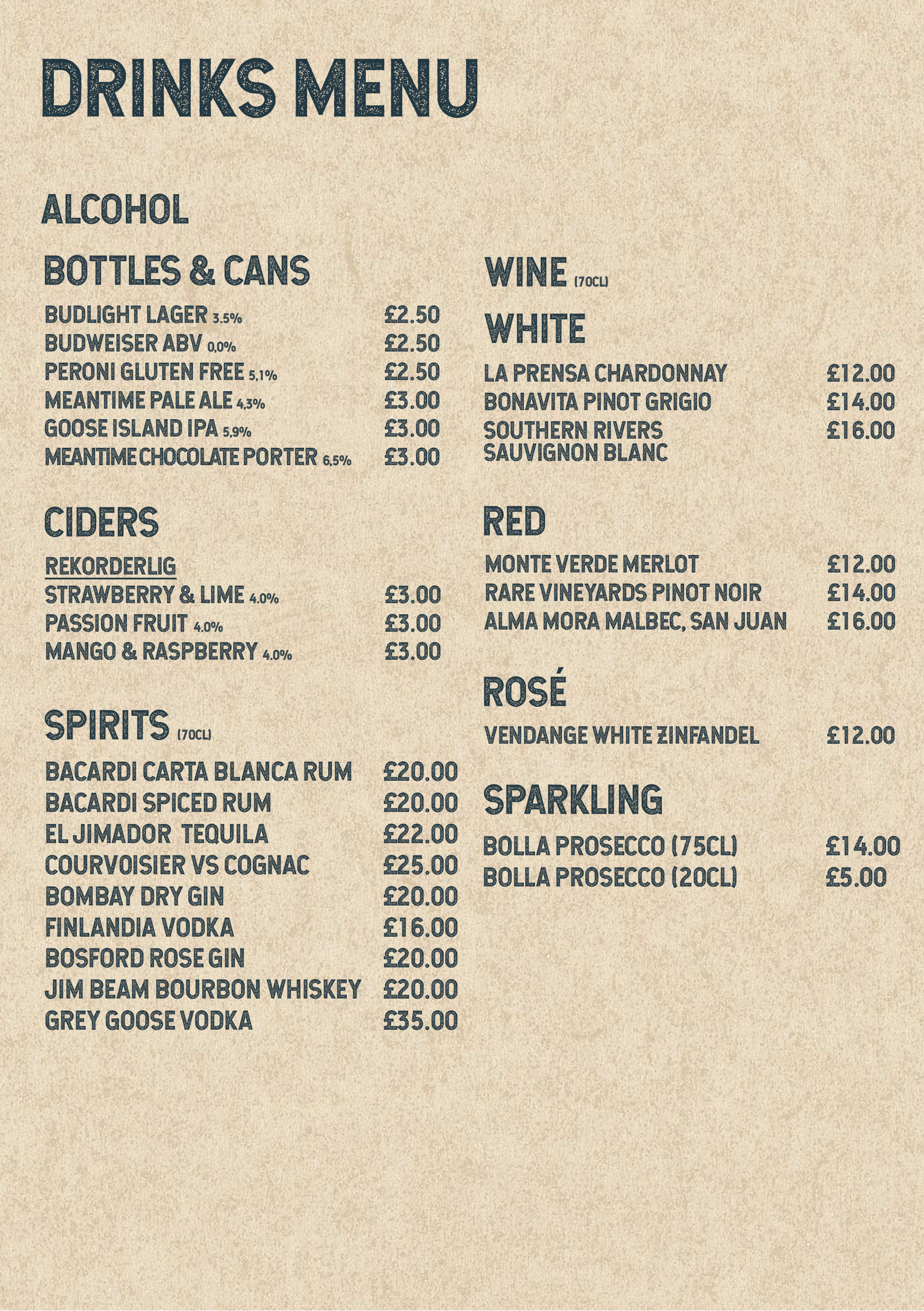 BrewStone's takeaway drinks menu